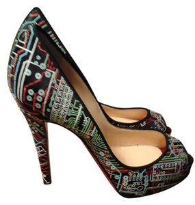 Christian Louboutin Never Worn 1/2 In Platform No Box Black Multi Pumps