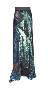 Juan Carlos Obando Jco A Line Sequins Maxi Skirt Green and Black