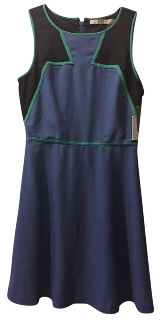 Item - Blue Green Black Md3e2633 Mid-length Short Casual Dress Size 6 (S)