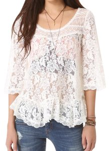 Free People Lace Scallop Bell Sleeves Boho Romantic Top