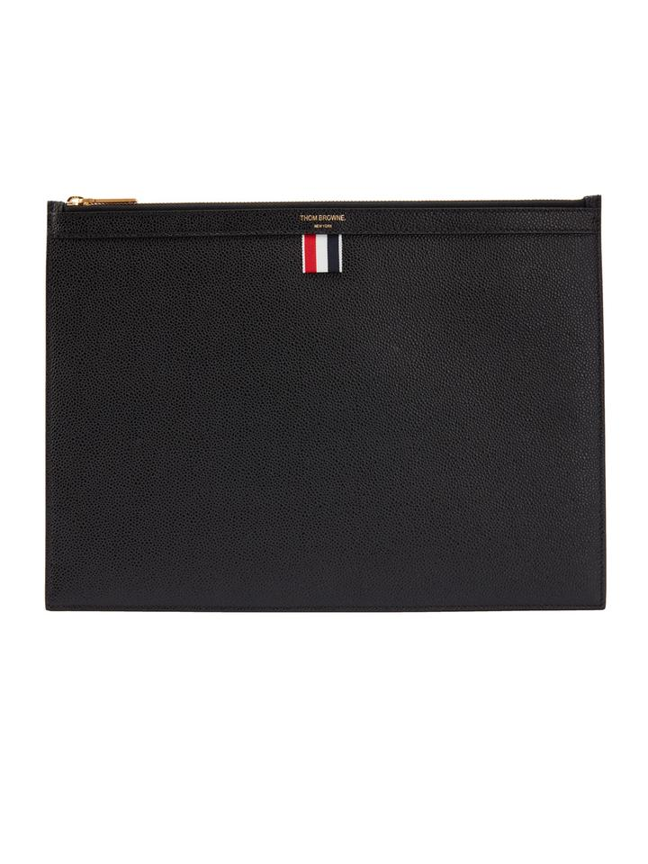 bd2fd6823a Thom Browne Zippered Document Holder In Pebble Grain Black Leather ...
