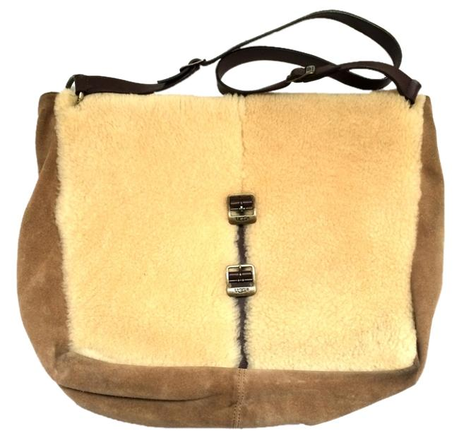 Item - Crossbody Hobo Large Retired Style Tote Handbag Chestnut Brown Beige Shearling Suede Leather Messenger Bag