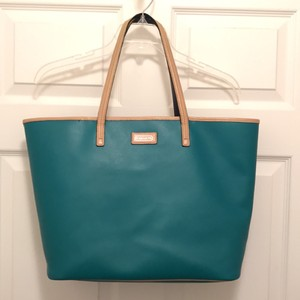 Coach Leather Weekend/travel Beach Large Tote in Jade (Green) Tan Blue