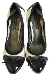 Adrienne Vittadini Mary Jane Chains Heels Patent Leather Comfortable Black and off White Pumps
