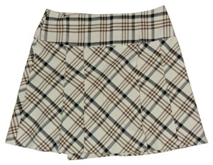 The Limited Wool Blend Mini Skirt Neutral Plaid - Ivory, Brown, & Black