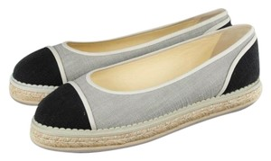 Chanel Grey Black Flats
