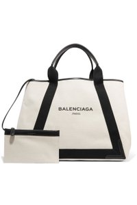 Balenciaga Cabas Canvas New White Tote in black and cream