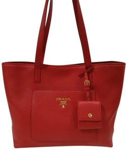 Prada New Leather Tote in Red