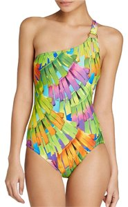 Trina Turk NWOT POLYNESIAN PALMS GOLD RING GLAM ONE SHOULDER ONE-PIECE SWIMSUIT