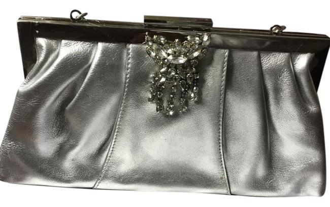 Item - With Brooch Silver Metallic Leather and Rhinestone Wristlet