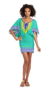 Trina Turk NEW SEYCHELLES JUNGLE GREEN KEYHOLE NECK TUNIC DRESS SWIMSUIT COVER-UP