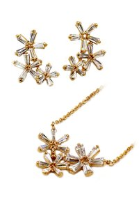 Ocean Fashion Simple flowers crystal necklace earrings gold set