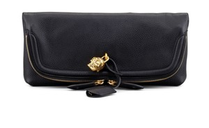 Alexander McQueen Skull Padlock Leather Black Clutch