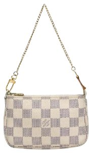 Louis Vuitton Neverfull Damier Azur Clutch Pouchette Wristlet in White