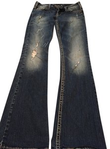 Silver Jeans Co. Distressed Denim Flare Leg Jeans-Distressed