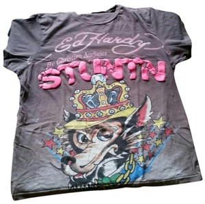 Ed Hardy Stuntn Grafitti Christian Audigier T Shirt Brown
