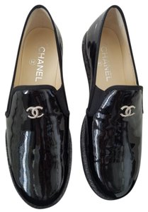 Chanel Loafers Black Pattern Flats