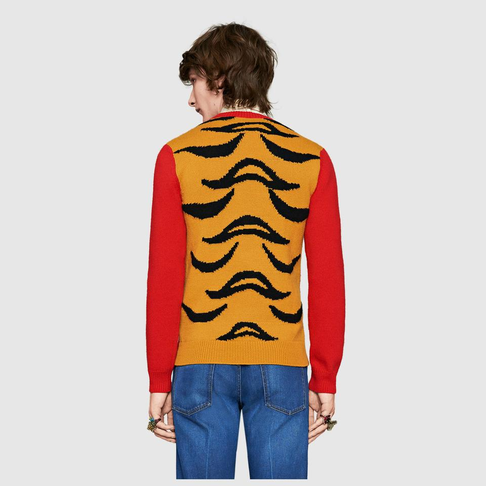 14423d96354 Gucci Peanuts Collection Snoopy Tiger Stripe Size M L Red Yellow Sweater -  Tradesy