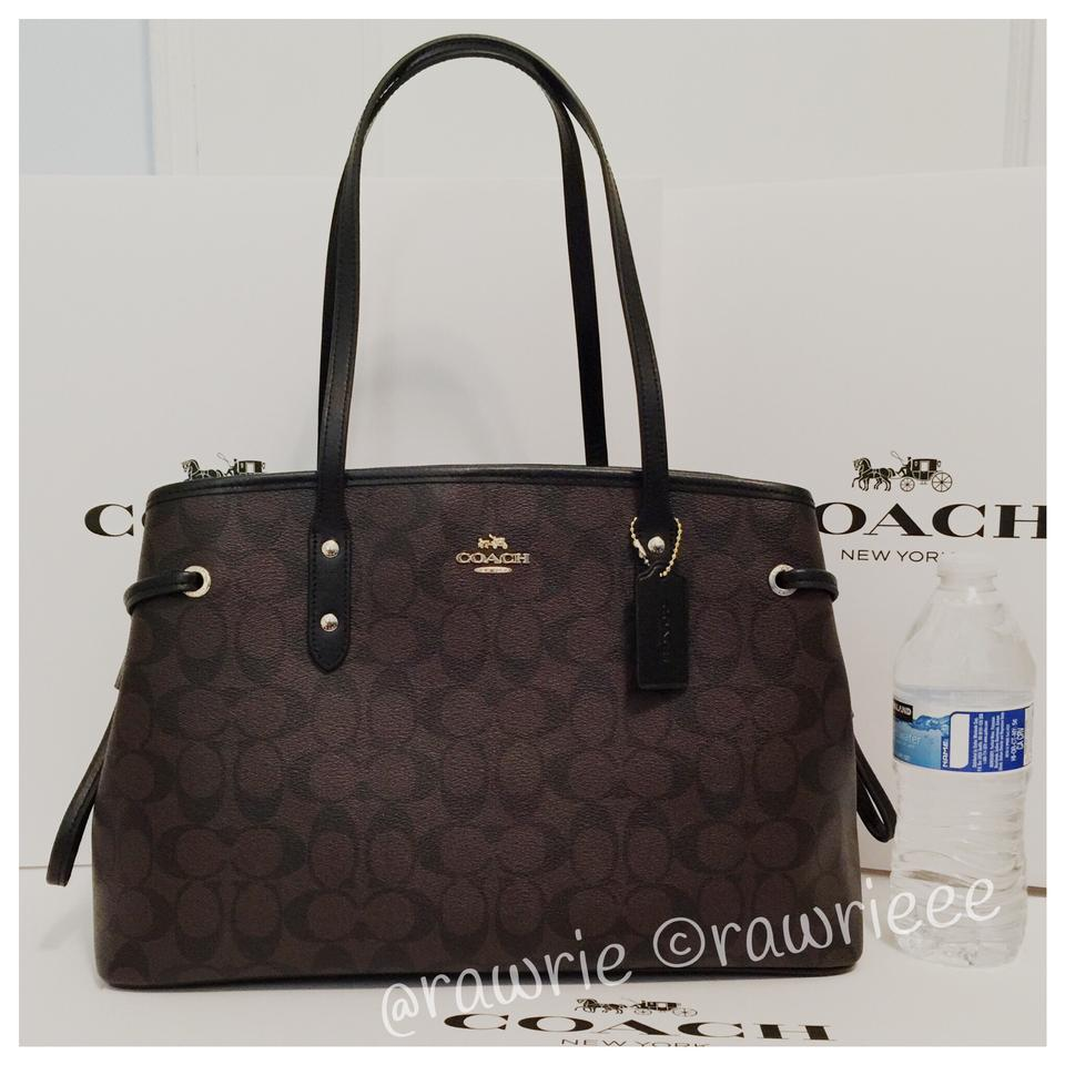 Coach Signature Drawstring Carryall Tote Pvc Black Brown Leather Shoulder  Bag bcee2f404d787