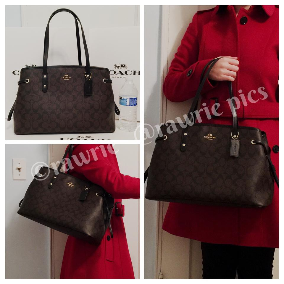 Coach Signature Drawstring Carryall Tote Pvc Black Brown Leather Shoulder  Bag - Tradesy 4683d8309e245