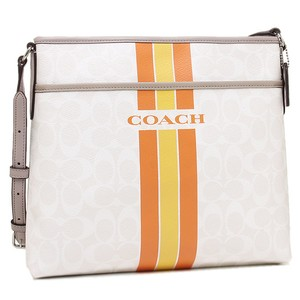 Coach Monogram Classic Canvas Leather Zip Top White Gray Messenger Bag