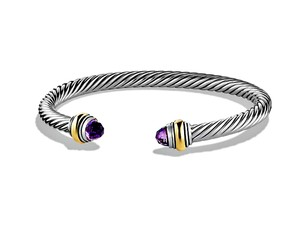 David Yurman STUNNING Cable Amethyst Bracelet in 14K Gold & Sterling Silver 7