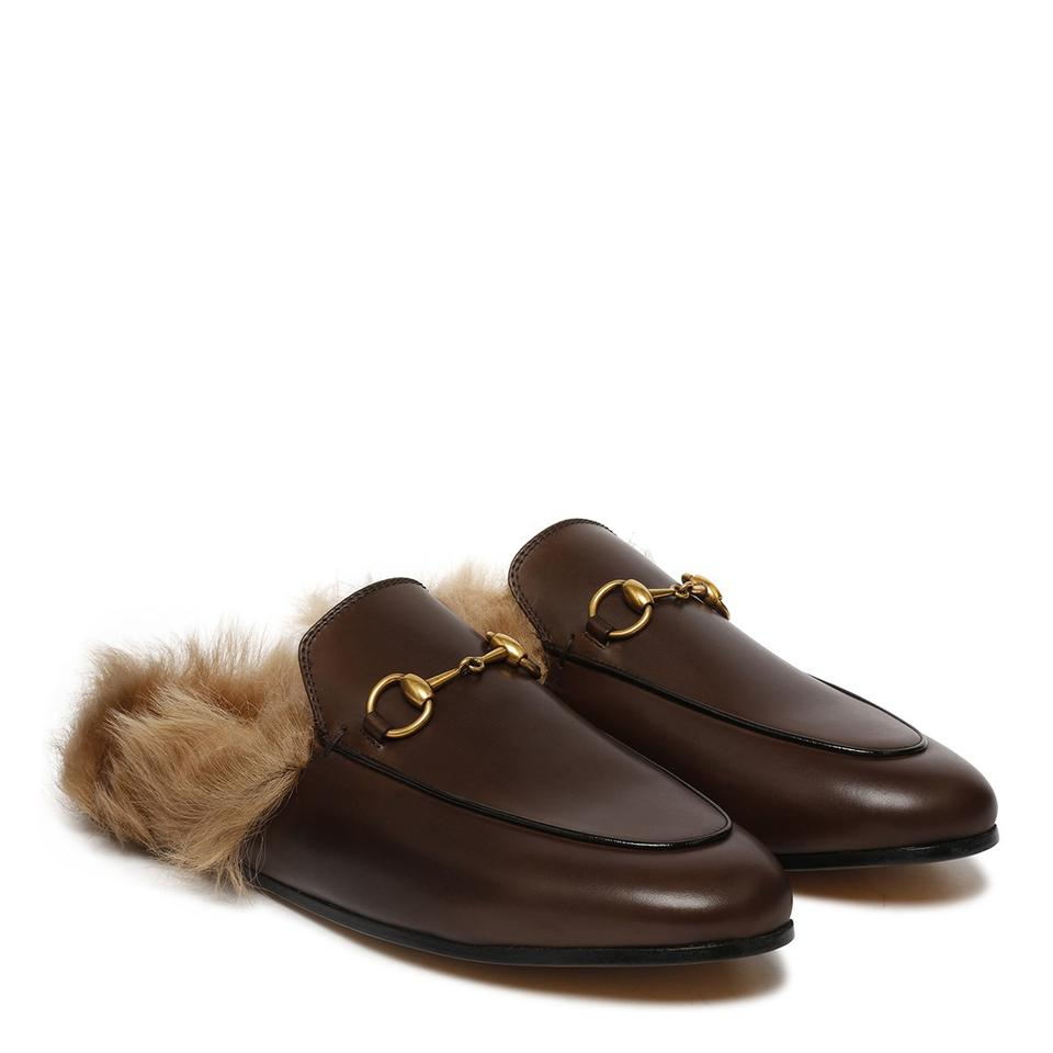 a198da6cdaf9 Gucci Brown Princetown Leather Fur Slip-on Loafers Slippers Multiple  Mules Slides