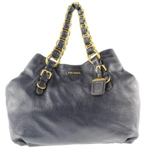 Prada Cervo Leather Deerskin Chain Tote in Blue