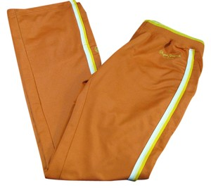 Pepe Jeans London Yellow White Sport Gym 6 4 Stretch Elastic Striped Small Athletic Pants orange