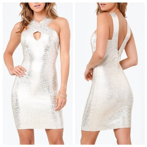 bebe Bodycon Bandage Foil Gold Keyhole Dress