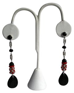 Guseppe Pisano Napoli Designer Sterling Silver ONYX coral long earrings Italy BN