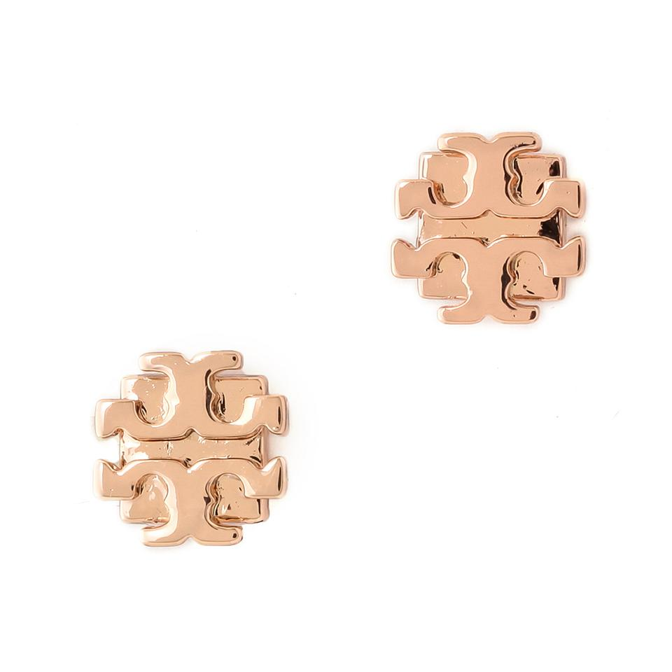Tory Burch Small T Logo Stud Earrings Rose Gold 1234