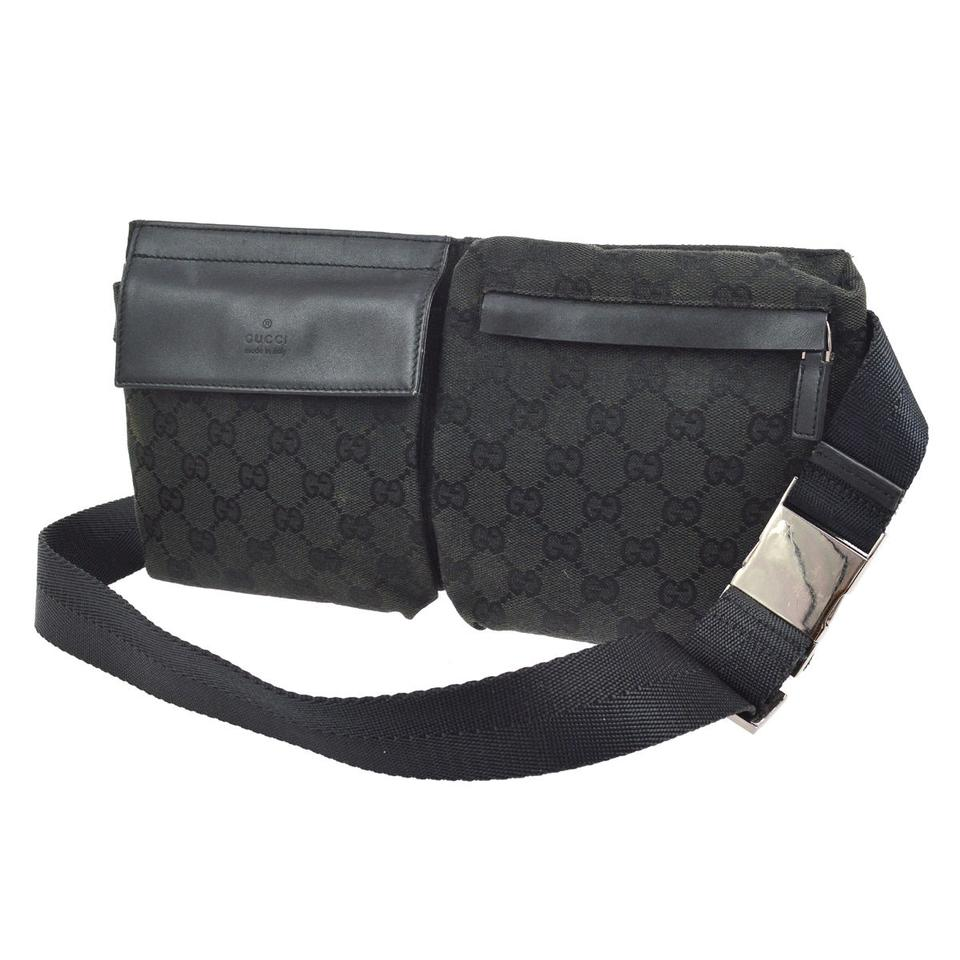 c59cec7c0efd Gucci Black Leather & Black Large G Logo Print Canvas Belt Bag ...