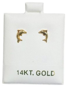 Other New Solid 14K Yellow Gold Cute Dolphin Hollow Back 14KT Gold Earrings
