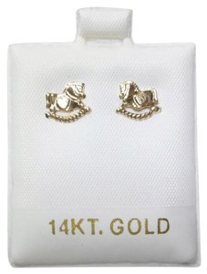 Other New Solid 14K Yellow Gold Rocking Horse Hollow Back 14KT Gold Earrings