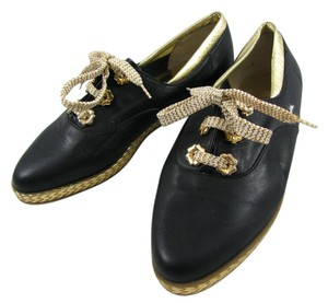 Bally Italy 6 36.5 Oxford Loafers Leather Lace Up Metallic New Woven M black gold Flats