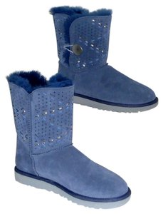 UGG Australia Perforated Suede Logo Button Wovem Navy Boots