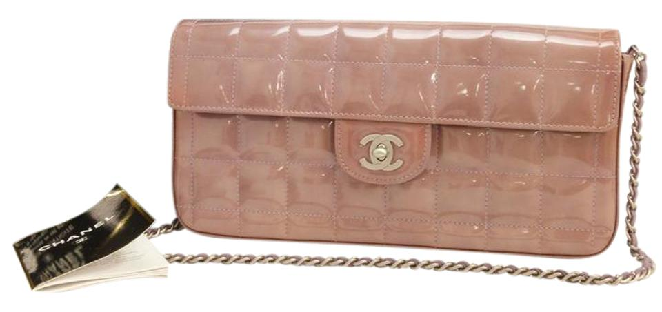 9576ee39b7e5 Chanel East West Clutch Skin Chocolate Bar Purple Patent Leather ...