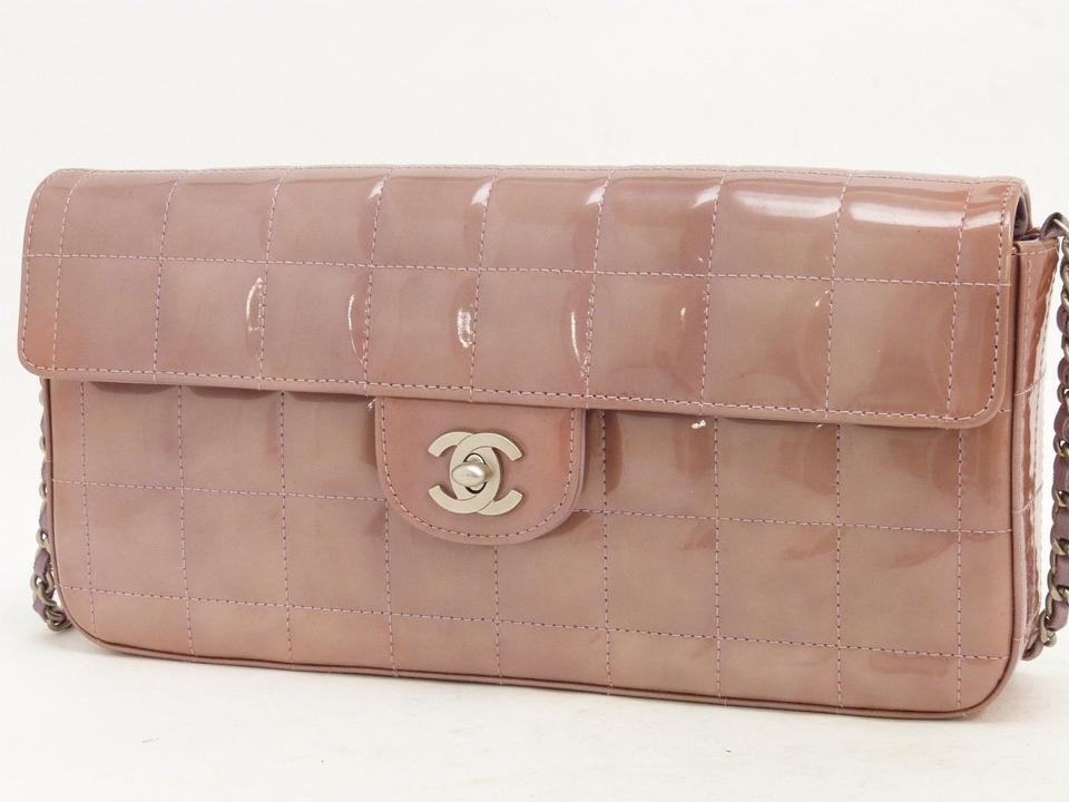 3c53dfb503e4 Chanel East West Clutch Skin Chocolate Bar Purple Patent Leather Shoulder  Bag - Tradesy