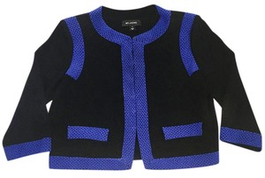 St. John Designer Textured Knit Mint Condition Black/royal Blue Hook And Eye Closure Cardigan