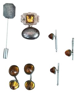Other Lot of 7 Vintage Amber Pins Silver Cufflinks Football Brooches