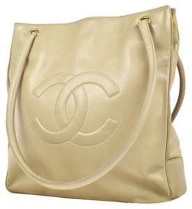 Chanel Vintage Leather Tote in Beige