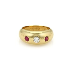 Cartier Gypsy Diamond & Ruby 18k Yellow Gold Dome Band Ring Size EU 50-US 5
