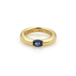 Cartier Ellipse 1ct Sapphire 18k Yellow Gold Band Ring Size EU 49-US 5