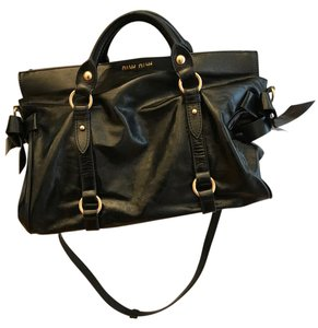 Miu Miu Leather Bow Embellished Satchel in Black