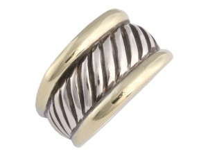 David Yurman Sterling Silver & Gold Two Tone Cable Ring