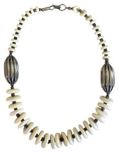 Madewell Ivory Bone Bead and Silver Necklace