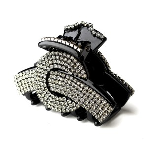 Elegance by Carbonneau Black Exquisite Clip W/ Smoked Grey Rhinestones 468 Hair Accessory
