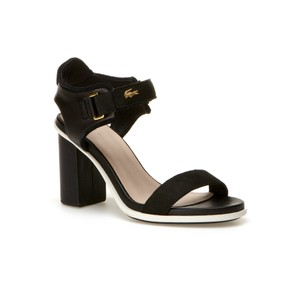 Lacoste Sporty Leather Chunk Heel BLACK Pumps