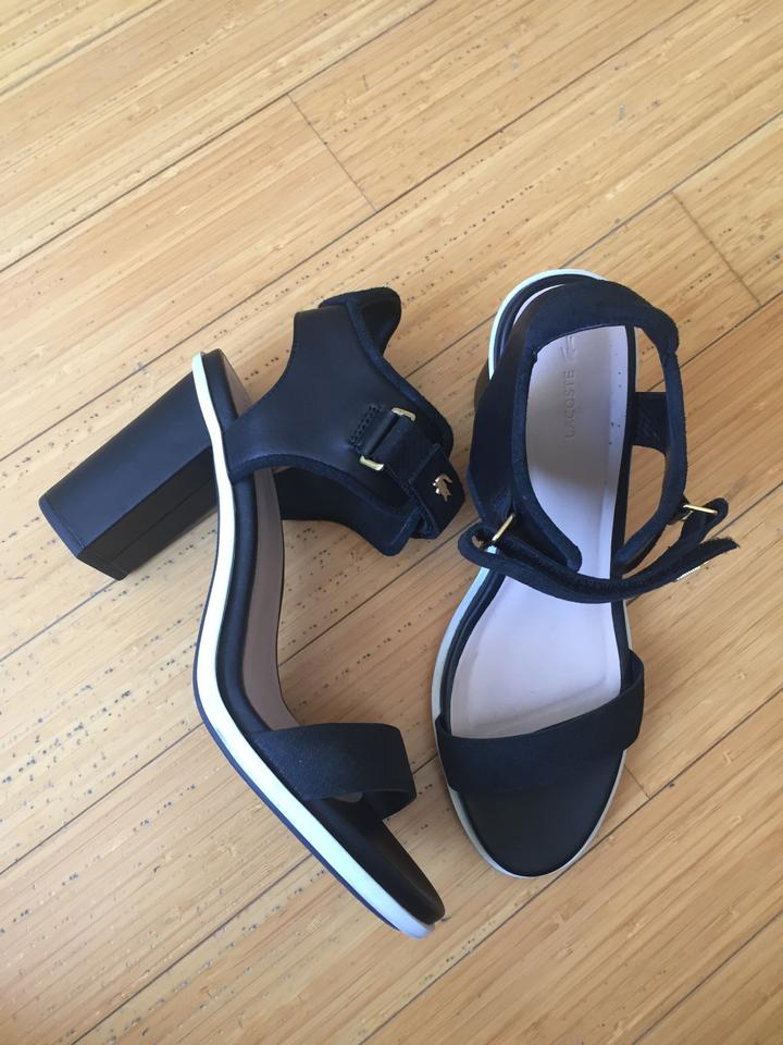 490b28a5254d Lacoste Black Lonelle Leather Velcro High-heeled Sandals Pumps Size ...